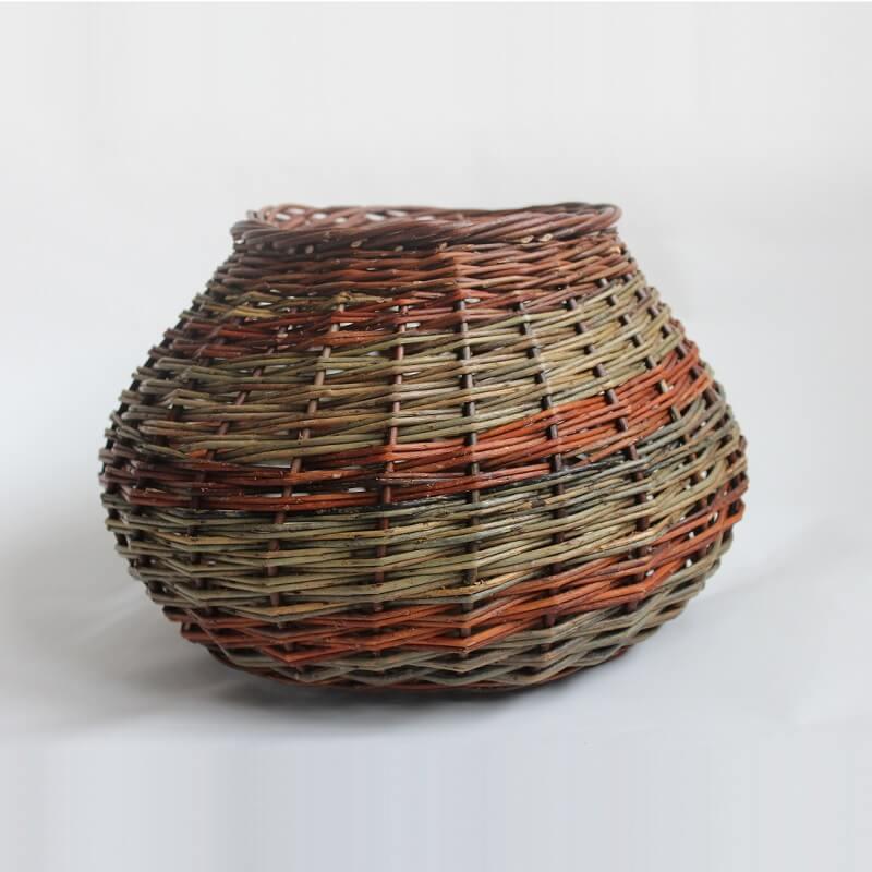Beautiful orange and green bowl shaped basket