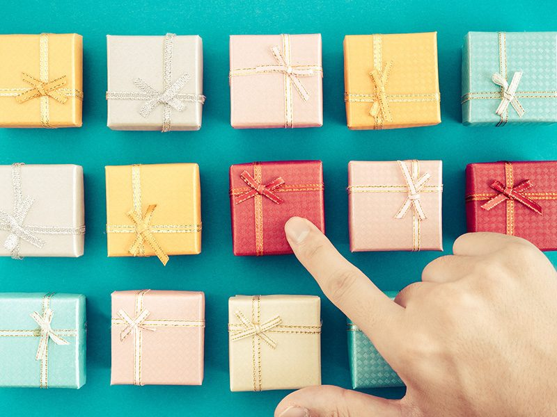 Gift card with presents